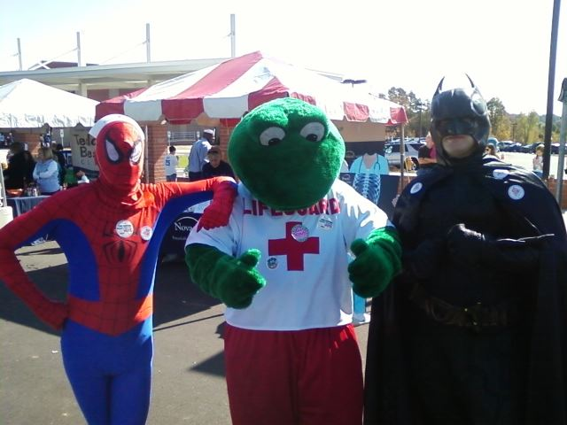 Lenny the Lifeguard with Spiderman and Batman